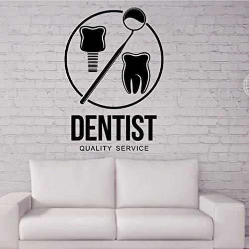 Meaosy adesivi murali in vinile dentista logo adesivo rimovibile clinica dentale poster da parete stomatologia negozio decor adesivi cura dei denti