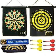 """bstcentelha 15""""seguridad tablero de dardos juego enrollar dos cara Reversible Bullseye Objetivo magnético diana con 6dardos para niños"""