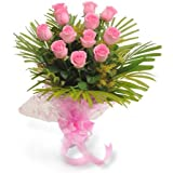 Floralbay Pink Roses with Greenery in Cellophane Packing -Bunch of 10
