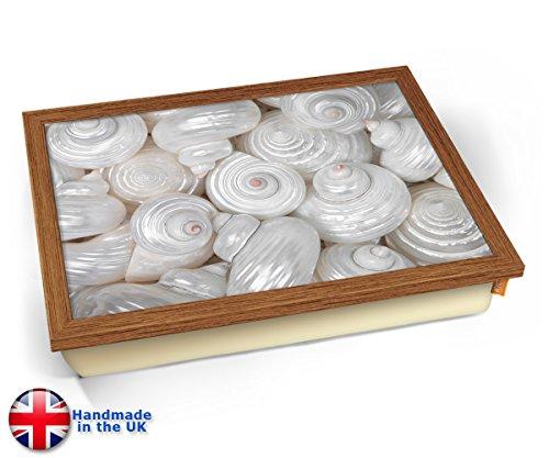 Sea Shells Macro White Cushion Lap Tray Kissen Tablett Knietablett Kissentablett - Holz Effekt Rahmen