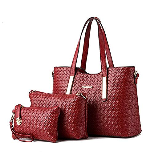 Design Satchel Handtasche (AlwaySky PU Leder Mode Handtasche Set Umhängetaschen Totes Weave Design Geldbörse 3 Stück Set für Frauen Wein)