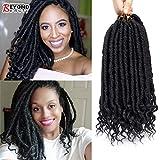 Déesse droite Faux Locs Avec Curly ends Ombre Tressage Locs Kanekalon Synthétique Crochet Tressage Extensions De Cheveux Dreadlocks Pour Tresses(#1B)