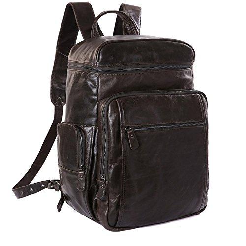 HAPPY LEMON Personalisiert Persönlichkeit Mode Herren Rucksäcke Leder Rucksack Herren Gepäck Taschen Leder Rucksäcke Kreativ (Color : Brown, Size : L) - - Brown-leder-gepäck