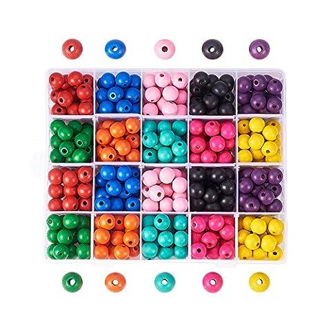 PandaHall Elite - Lot de 1 Boite Perles en Bois Teint Environnement, Rond, Couleur Melangee, 14x13mm, Trou: 4mm; environ 400pcs/Boite