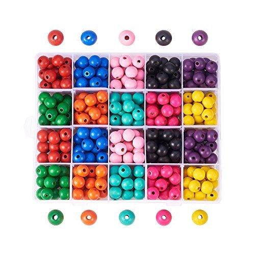 Pandahall Elite 1 Box (ca. 400 Stück) 14mm gefärbte umweltfreundliche runde Holzperlen 10 Farben mit Box für DIY Crafting Schmuckherstellung Elite Box