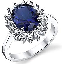 Di fidanzamento di Kate Middleton navaratna-argento 925 con zirconi blu