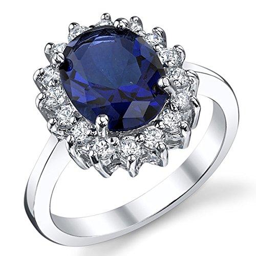 Kate Middleton Bague Argent 925/1000 Saphir Bleu Zirconia Cubique Pour Femme Taille 54