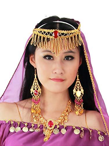 Indian Bollywood Tikka Set Halskette Ohrringe Schmuck Damen Mädchen Goldkette Kristall Strass Anhänger (Violett)