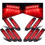 10X 6 LED rojo Side Led de señalización, luces del remolque Focus AZ, Camiones, luces de posición, luz de posición lateral trasera, Remolque llevó luces de posición, RV (12V 3,77 '') (Red)
