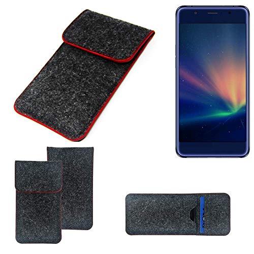 K-S-Trade® Filz Schutz Hülle Für -Hisense A2 Pro- Schutzhülle Filztasche Pouch Tasche Case Sleeve Handyhülle Filzhülle Dunkelgrau Roter Rand