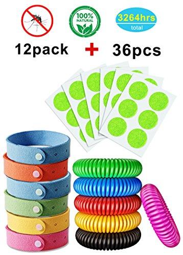 AXYSM 12 Stück Anti Moskito Armband + 36 Pcs Anti Mosquito Aufkleber - Frei Von DEET 100% Natürliches Mücken Armband Aufnäher mit Citronella Für Kinder Und Erwachsene,Outdoor und Innenschutz