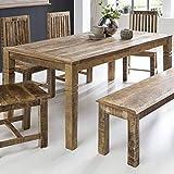 FineBuy Esszimmertisch RUSTI 120 x 70 x 76 cm Mango Massiv-Holz | Design Landhaus Esstisch Massiv | Tisch für Esszimmer rechteckig | Küchentisch 4-6 Personen