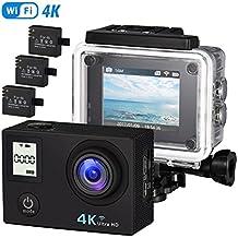 VicTsing 4K Cámara Deportiva Actividad WIFI Impermeable, HD16MP, 170° Ángulo de Visión, Pantalla LCD 2-Inch, 3 Baterías Recargables, 14 Accesorios, Incluye Palo de Selfie - Negro