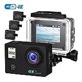 OMorc - Fotocamere Subacque Action Cam 4K 30FPS con Doppio Schermo, 16MP WiFi 3 Batterie Ricaricabili, 30M Impermeabile, Bastone Selfie Incluso. Nero immagine