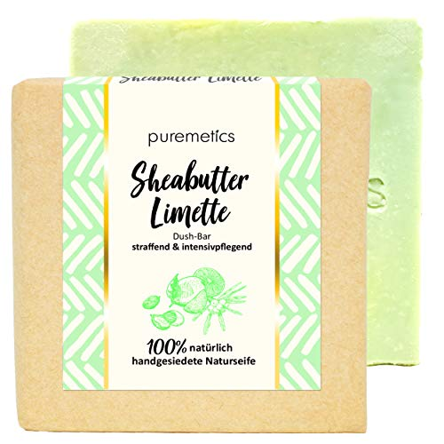 puremetics DuschBar Sheabutter Limette   100% vegane Naturkosmetik   Handgesiedete Naturseife   Duschseife   straffende & intensivpflegende Seife   Festes Duschgel für müde & trockene Haut