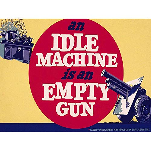Wee Blue Coo LTD War Wwii Ad 1942 USA Idle Machine Empty Gun Art Print Poster Wall Decor Kunstdruck Poster Wand-Dekor-12X16 Zoll -