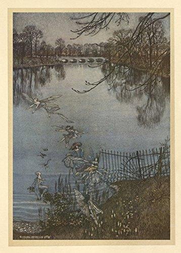 Arthur Rackham Feen auf dem See, von Peter Pan in Kensington Gardens, von C1906'J.M. Barrie 250gsm, Hochglanz, A3, vervielfältigtes Poster (Peter-pan-feen)