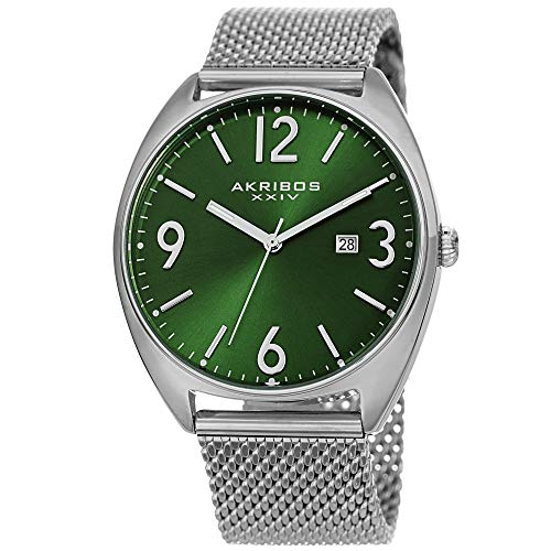 Akribos XXIV Men's Watch – Fashionable Stainless Steel Mesh Bracelet Green Sunburst Dial and Date Window – Tonneau Analog Quartz – AK1026GN
