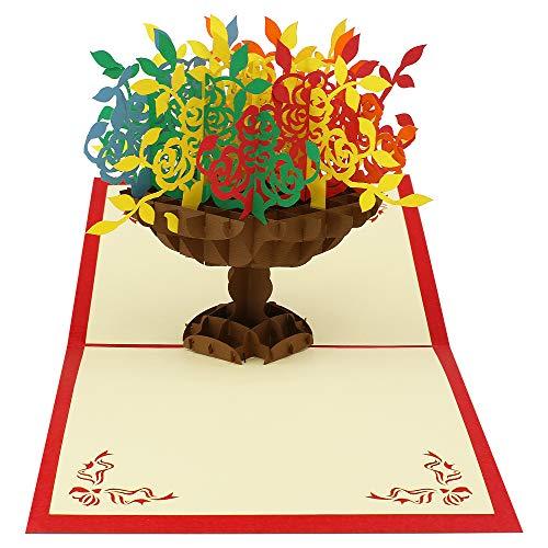 3D-Karte, Blumenvessel, Popup-Karte, Grußkarte für Danksagung, Geburtstag, Hochzeit, Weihnachten (rot)