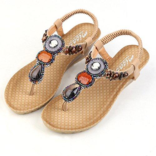 Siketu - Wedge Bohemia Roman Sandales Pour Femmes Appricot