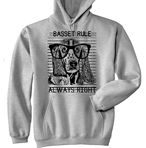 Teesquare1st Men's BASSET HOUND ALWAYS RIGHT P New Grey Cotton Hoodie Size Small