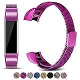 Mornex Kompatibel Fitbit Alta HR und Alta Armband, Milanese Edelstahlband Sport Uhrenarmband Ersatzarmband für Fitbit Alta HR Band mit Magnetverriegelung,Lila …