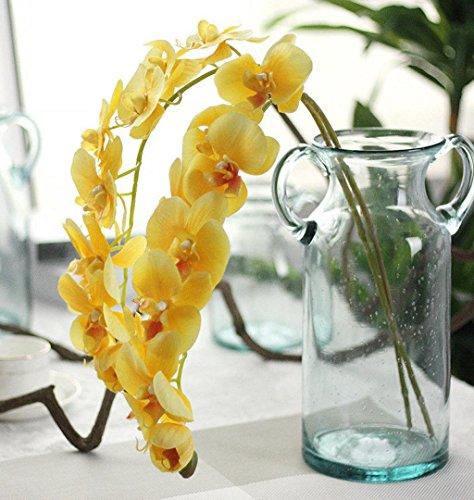 ZEZKT-Home Künstlicher Phalaenopsis Zweig Deko Blüten Zweig Kunst Orchideen Blume Orchidee Lila Wandbild Dekoration Blumen Wellness Spa Blüten Natur Foto-Tapete Wandtapete Fotoposter (72cm, Gelb)
