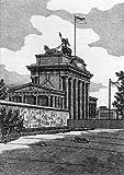 Einfarbige original Radierung Berlin, Brandenburger Tor mit Mauerstreifen von König als loses Blatt, Graphik, kein Kunstdruck, kein Leinwandbild
