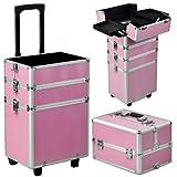 Yahee Alu Beauty Case Rollkoffer 4 in 1 Kosmetikkoffer Schminkkoffer Make-up Friseur Kosmetikkoffer (Pink)