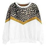 BASACA Damen Sweatshirt Patchwork Leopard Druck Hoodie Mantel Top Bluse Oberteile Langarm Outwear Hemd Pulli Pullover Mode (XXL, Weiß)