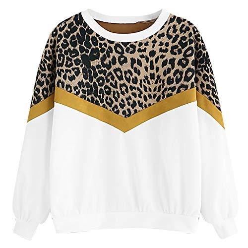 QingJiu Fashion Womens Casual Long Sleeve Patchwork Leopard Print O-Neck Tops Sweatshirt
