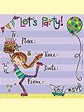 """Biglietti di invito per compleanno, con buste, tema: ragazza sui pattini, con scritta in lingua inglese """"Come To My Party"""""""