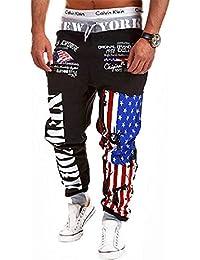 BOMOVO Casual Harem Holgado Marimachos US Bandera Pantalones De Chandal Hombre