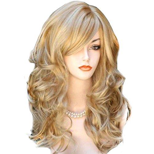 Sexy Frauen Damen Blonde Wavy Curly Partei Cosplay Perücke Langes Haar Dame volle Perücken (Curly Damen Perücke Volle)