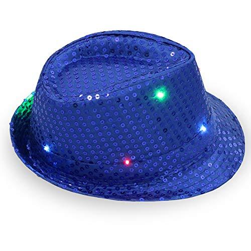 1 stück frauen männer led leuchten jazz hut, Erwachsene Glitter Pailletten Hut Kostüm Party Cap für Tanzparty mit 9 Blinkende LED - Für Erwachsene Schwarz Glitter Kostüm