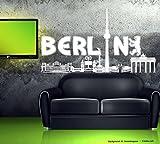 Wandtattoo Wandaufkleber Berlin Skyline Stadt Schwarz Gr1