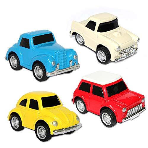 Buyger 4 Pcs Miniature Tire hacia Atrás el Metálico Coches de Juguete para Niños Niñas(Colores aleatorios)