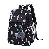 Uniuooi Kids Backpack School Bag with USB Charging Port for Teenagers Girls Boys, Secondary/High School College Book Bag Laptop Bag Waterproof Travel Rucksack (Black & Hot Air Balloon)