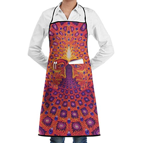 Psychedelic Kostüm Lady - dfgjfgjdfj Psychedelic Trippy Schürze Lace Unisex Mens Womens Chef Adjustable Polyester Long Full Black Cooking Kitchen Schürzes Bib with Pockets for Restaurant Baking Crafting Gardening BBQ Grill