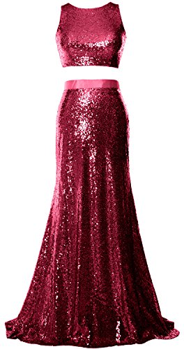 MACloth Mermaid 2 Piece Prom Dress Crop Top Sequin Formal Party Evening Gown Wine Red