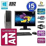 Dell PC 390 DT Bildschirm 19 Zoll (48 cm) Intel i5-2400 RAM 16 GB SSD 480 GB DVD-Brenner WiFi W7