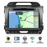 YUNTX Android 8.1 Car Radio de navegación GPS para Kia Sportage (2010-2015) | 2 DIN | Cámara Trasera Gratis| 8 Pulgada| 2GB/32GB| DVD| Dab+ Soporte| USB| WLAN| Bluetooth| MirrorLink| mandos de volante