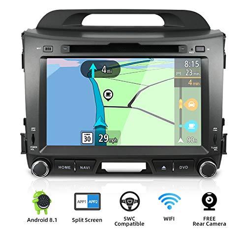 YUNTX Android 8.1 Autoradio für KIA SPORTAGE (2010-2015) Radio mit GPS Navi Unterstützt Bluetooth | DAB+ | USB | Carplay | WiFi | 4G | MicroSD | 2 Din | 8 Zoll | MirrorLink | RDS