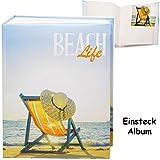 Unbekannt großes Einsteckalbum / Memoalbum / Fotoalbum -  Reise / Urlaub - Strand Liegestuhl & Sonnenhut  __ 200 Bilder & Fotos - 10 x 15 - Gebunden zum Einstecken - ..
