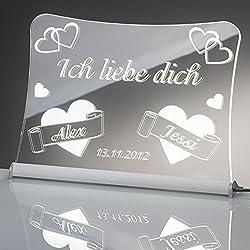 """LED Acrylglas Schild""""Ich liebe dich"""", 20x15 cm, mit persönlicher Laser Gravur (weiß)"""