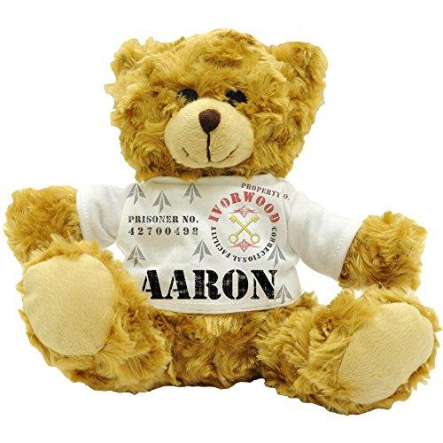 Aaron de propriété Ivorwood Correctional Installation Nom personnalisable mâle prisonnier Ours en peluche 22 cm