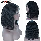 WINBOWIG Brazilian Virgin Human Hair Lace Front Wigs Glueless Short Bob Human Hair Wigs Wavy With Baby Hair For Black Women Short Wavy Lace Wigs (10 inches, Lace Front Wig)