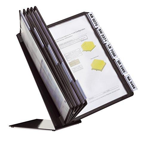 Durable 557001 Tischständer Vario Table 10 (mit 10 schwarzen Sicht Tafeln A4) schwarz