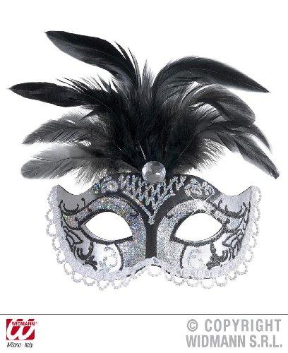 Widmann 6584N, venezianische Augen- oder Gesichtsmaske mit Edlestein, Federn, Perlen und silbernen (Maske Mit Federn Kind Venezianische)