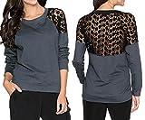 Uniquestyle Damen Spitzen Oberteile Langarm Spitzenshirt Elegant Spitze Pullover Langarmshirts Tops Hemd Shirt Dunkelgrau XL